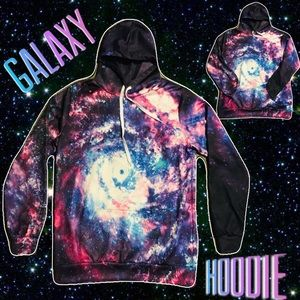 GALAXY Men's XL Full Zip Hoodie Universe Stars Lit